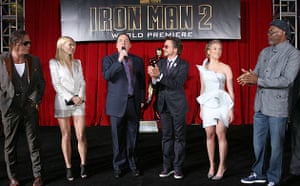 Cast and director of Iron Man 2 at its world premiere in LA