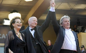 Cannes film festival day6: Claudia Cardinale, Gilles Jacob and Alain Delon at The Leopard, Cannes