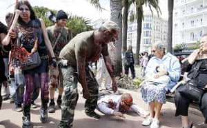 Cannes film festival day6: People dressed as zombies walk in Cannes to promote the Bloody Week-End