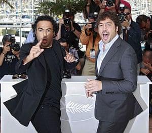 Cannes film festival day6: Alejandro Gonzalez Inarritu and Javier Bardem at photocall for Biutiful