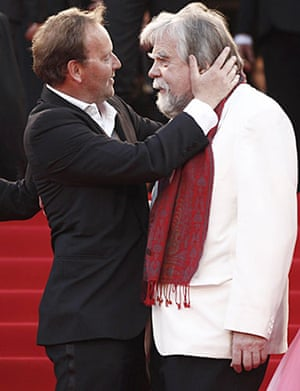 Cannes film festival day8: Xavier Beauvois and Michael Lonsdale at Cannes premiere of Of Gods and Men