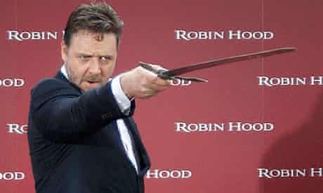 Russell Crowe at a photocall for Robin Hood in Madrid