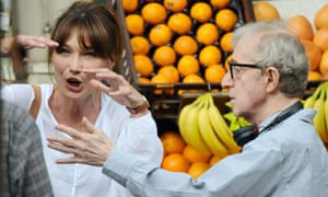 Carla Bruni-Sarkozy and Woody Allen on the set of Midnight in Paris