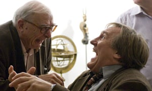 Claude Chabrol and Gerard Depardieu on the set of Bellamy in 2009