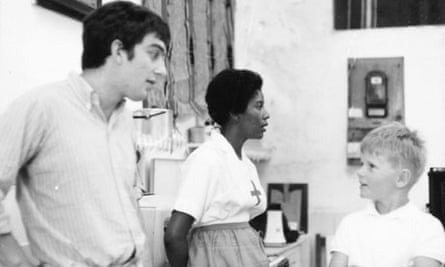 Stephen Frears on the set of The Burning