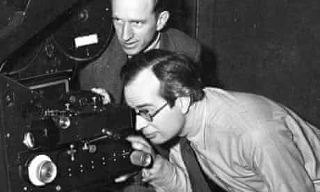 Thorold Dickinson, bottom, alongside cameraman Val Stewart on the set of The Queen of Spades (1949).