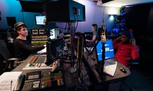 Tinie Tempah being interviewed by DJ Nick Grimshaw on Radio 1