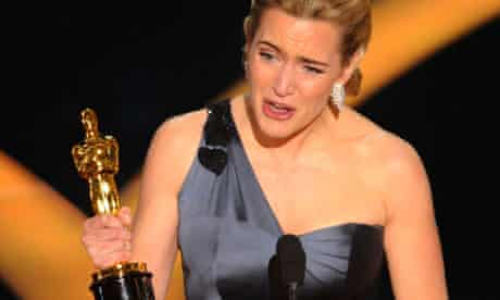 Kate Winslet accepts the Oscar for best actress for The Reader in 2009