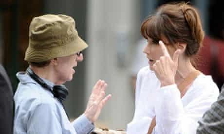 Woody Allen with Carla Bruni-Sarkozy on set of Midnight in Paris