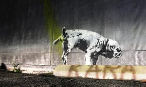 Piss artist ... a urinating dog, stencilled on an LA wall by Banksy ahead of Sunday night's Oscars.
