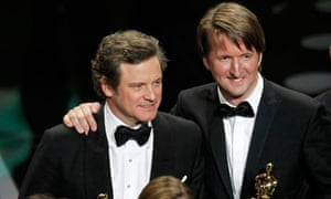 Colin Firth and Tom Hooper hold their Oscars during the 83rd Academy Awards in Hollywood