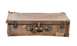 A brown leather suitcase