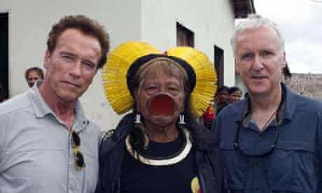James Cameron Avatar 2 in Brazil with Caiapo chief Raoni and Arnold Schwarzenegger