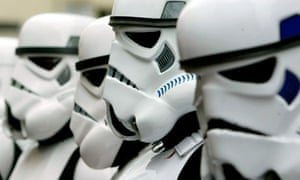 Imperial stormtroopers stand guard outside the Empire, Leicester Square in central London