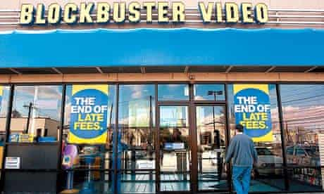A customer enters a US branch of Blockbuster. The company filed for bankruptcy in September
