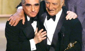 Elia Kazan with Martin Scorsese receiving an honorary Oscar in 1999