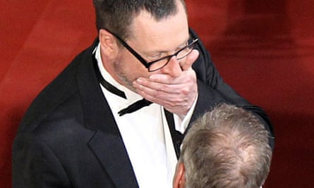 Lars Von Trier and Thierry Fremaux on the red carpet at the premiere of Melancholia