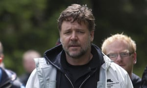 Tweet sorrow ... Russell Crowe visits DunCarron Fort in Scotland before the controversy.