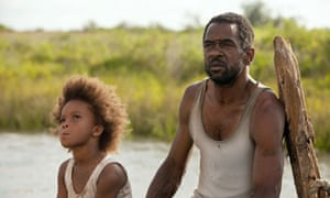 Quvenzhané Wallis as Hushpuppy and Dwight Henry as Wink in Beasts of the Southern Wild.