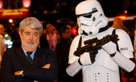 George Lucas with a Stormtrooper in 2005