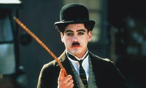 Citizen cane … Robert Downey Jr in Chaplin (1992).