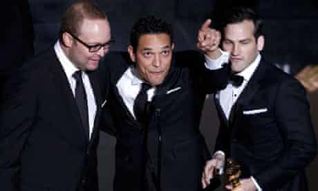 Oscars 2012: TJ Martin, Dan Lindsay and Rich Middlemas accept their award