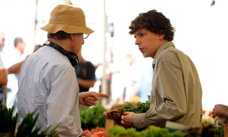 Woody Allen directs Jesse Eisenberg on the set of To Rome with Love, previously titled Nero Fiddled