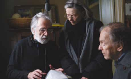 Michael Haneke, left, and his stars on the set of Amour