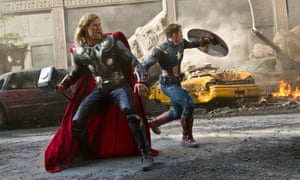 Hammer time … Thor (Chris Hemsworth) and Captain America (Chris Evans) in Avengers Assemble.