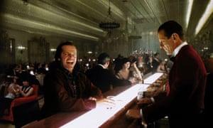 Jack Torrance (Jack Nicholson) chats to Lloyd the bartender (Joe Turkel) in The Shining