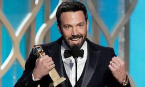 Ben Affleck with his Golden Globe for Argo