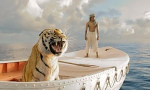 King the tiger as Richard Parker, with Suraj Sharma as Pi, in Ang Lee's Life of Pi.