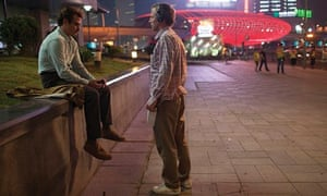 Spike Jonze and Joaquin Phoenix on the set of Her