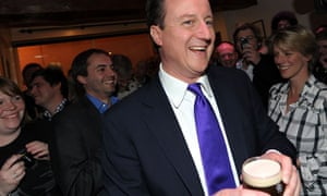David Cameron with a pint of Guinness in Bristol, April 2010