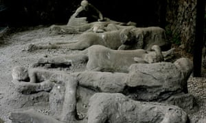Plaster casts of victims in Pompeii