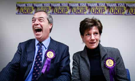 Ukip leader Nigel Farage with Eastleigh Ukip candidate Diane James