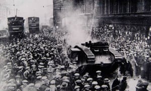 A British army tank in Trongate, Glasgow, in 1919