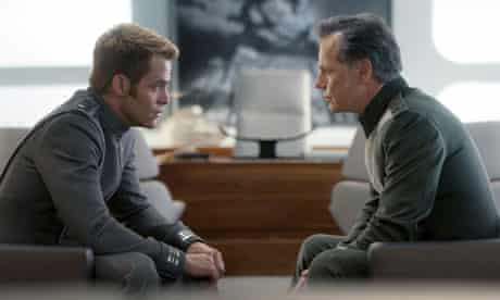 Kirk and Pike chat in their flimsily reinforced intergalactic security HQ in Star Trek Into Darkness