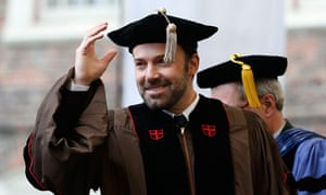 Ben Affleck receives an honorary degree at Brown University, Rhode Island, in May.