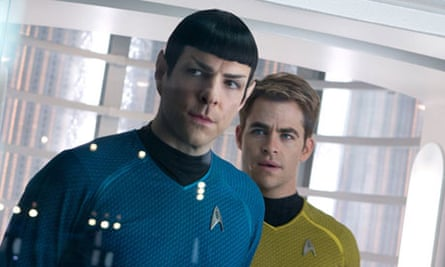 Grounded … Spock (Zachary Quinto) and Kirk (Chris Pine) in Star Trek Into Darkness.