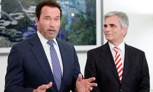 Arnold Schwarzenegger meets Austrian chancellor Werner Faymann in Vienna earlier this month.