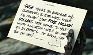 The empire writes back … Bad Robot's screenshot announcing the winner of the Star Wars: Force for Ch