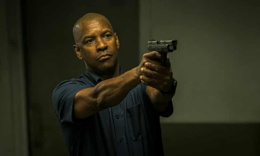 Pudding-faced … Denzel Washington as Robert McCall in The Equalizer.