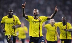 Barcelona player Seydou Keita celebrates his equaliser against Bayern Munich.