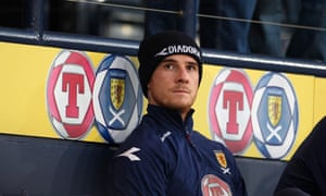 Scotland's Barry Ferguson sits in the stands during the World Cup qualifier against Iceland.
