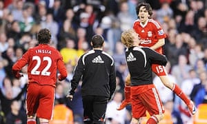 Yossi Benayoun is hoisted high after scoring the winner for Liverpool against Fulham