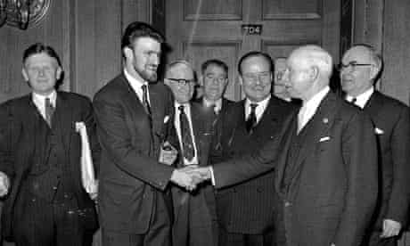 Jimmy Hill shakes hands with Joe Richards