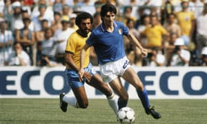 Paolo Rossi in action in the 1982 World Cup