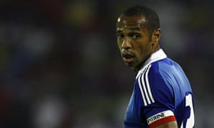France's Thierry Henry reacts during their World Cup 2010 qualifying soccer match against Serbia