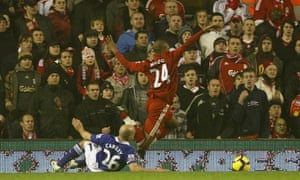 David Ngog goes down under a challenge from Lee Carsley